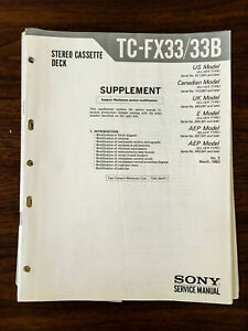 Sony TC-FX33 TC-FX33B Cassette Service Manual Supplement *Original*