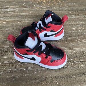 Nike Jordan 1 Mid Chicago Black Toe Black/Red TD Toddler Size 5C 640735 069