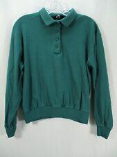 Lands' End Women's Size Medium Green Long Sleeve Shirt T-Shirt Henley Polo Top