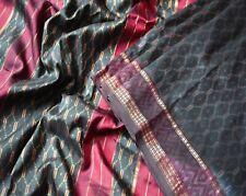 Vintage Maroon & Black Saree 100% Pure Silk Woven Patola Ikat Sari Fabric 5Yard