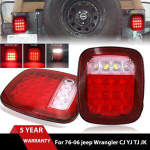 LED Rear Tail Lights Brake Turn Stop Reverse Lamps For Jeep Wrangler TJ CJ 76-06