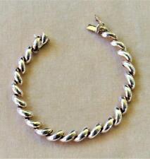 """Vntg Signed 925 Sterling Silver Polished Crescent Shape 7 1/4"""" Bracelet 13.28g"""