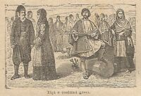 A0110 Tipi e costumi Greci - Stampa Antica del 1907 - Xilografia