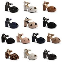 Ladies High Block Heel Platform Sandals Womens Chunky Ankle Strap Shoes Size