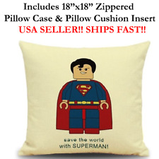 "18x18 18""x18"" SUPER MAN SUPERMAN LEGO MINI FIGURES Throw Pillow Case & Cushion"