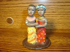 Vintage Black African American Resin Figurine Black Couple African Dress, Candle