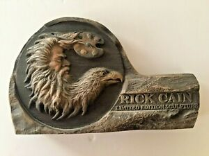 "Rick Cain Limited Ed. Sculpture Eagle Mountain Man Painting Easel 11""×7"" signed"