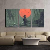 "Wall26 - Samurai in Night Forest - Canvas Art Wall Decor - 24""x36""x3 Panels"