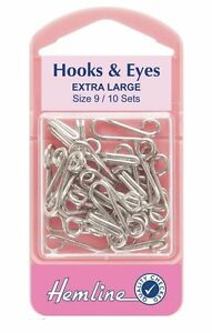 Hooks And Eyes Pack 10 Sets Silver Size 9 Extra Large Garment Fasteners Sewing
