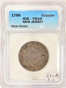 1786 New Jersey Colonial Copper ICG VG-10; Wide Shield; 21-N, R-2