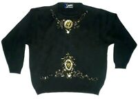 Vintage Claude Montana Paris Gold Beaded Embroidery Black Sweater Woman's Medium