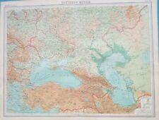 Map of Southern Russia. 1922. Black Sea. Caspian Sea. Ukraine. Crimea.