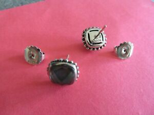 LAGOS pierced doublet earrings, black Mother~of~Pearl,sterling/14K~ENDS 9/25 9pm