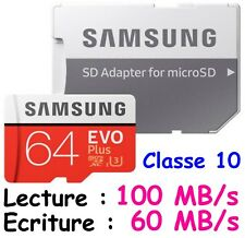 Carte Mémoire + Adaptateur SAMSUNG Micro SDXC 128 Gb ( dispo aussi 32 ou 64 Go )