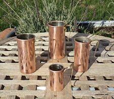 Set of 4  Copper Tall Measuring Cups w/ brass handles, Made in Korea