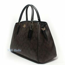 New Coach F55932 Small Margot Carryall In Signature Canvas Brown Black NWT