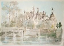 Pierre PAGES-Lithographie originale signée-Pont sur la Loire