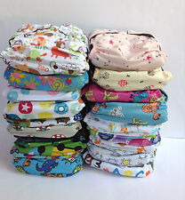 3 Baby Cloth Nappies Charcoal Bamboo Nappy Reusable One Size Inserts Boy Girl
