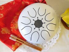 WuYou 7in C Tone Steel Drum Tongue Drum UFO handpan Chakra Drum, White, Free bag
