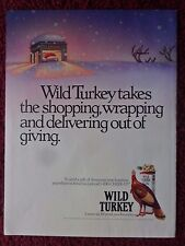 1990 Print Ad Wild Turkey Bourbon Whiskey ~ No Shopping, Wrapping, Delivering