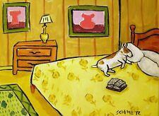 bull terrier Dog art Print abstract folk pop Art Jschmetz 13x19 bedroom