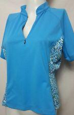 Land's end Women's Blue 1/2 Zip Short Sleeve Cycling Jersey MEDIUMP/10-12(#a1