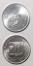 Slovenia 20 Stotinov 1992/1993 owl 19mm alum coin UNC