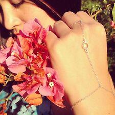 Sterling Silver or Gold-filled Crystal Quartz Hand Chain/Slave Bracelet