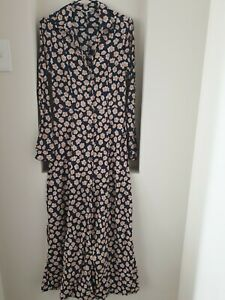Ganni Navy Blue Floral Long Dress Size 36