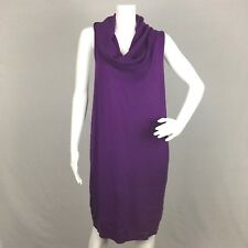 BCBGMAXAZRIA Womens Sweater Dress Large Cut Out Sides Cowl Neck Purple Solid
