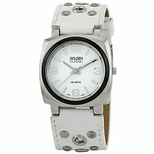 NEW Golden Classic 2267 Womens white Vintage Leather 30m Off the Cuff Watch