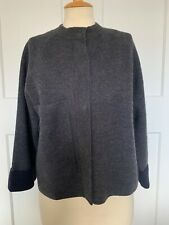 COS WOOL CROPPED GREY AND NAVY CARDIGAN WITH POCKET AND POPPERS SIZE SMALL