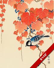 OHARA KOSON BIRD & VINES JAPANESE WOODBLOCK PRINT PAINTING ART ON REAL CANVAS