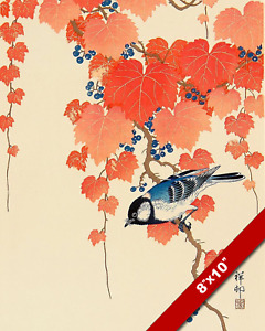 OHARA KOSON BIRD & VINES JAPANESE WOODBLOCK PRINT PAINTING ART ON REAL CANVAS