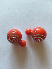 DOUBLE BOUCLE D'OREILLE BOULE ROUGE MOTIF SPIRALE LUXE NEUF EMBALLE