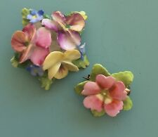 2pc Lovely Vintage Signed Artone  Flower Brooches In Bone China Made In England