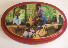 More details for vintage large st michael tin crinoline lady family scene oval shaped gc