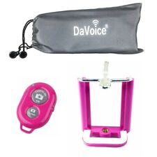 Cell Phone Tripod Adapter iPhone Bluetooth Remote Control, Travel Bag - Hot Pink