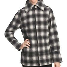WOOLRICH Wool Chatham Creek Jacket Black White Check Zip Coat Quilted $199