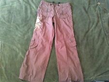 Womans Prive Brown Cargo Style Pants W/Sequins Flower Design Size S NWOT