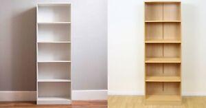 5-Tier Bookcase Tall Wooden Shelves Bookshelf Storage Shelving Unit Furniture UK