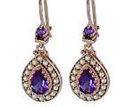 E263 Genuine 9ct SOLID Rose Gold Natural Purple Amethyst & Pearl Drop Earrings