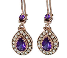 E263 Genuine 9ct SOLID Rose Gold Natural Purple Amethyst & Pearl Drop Earrings