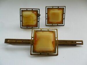 Vintage USSR Men's Jewelry Set Cufflinks & Tie Clip Gold Metal Bakelit №60