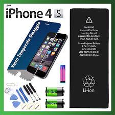 BATTERIA PER APPLE iPhone 4S 1430 mAh CAPACITA' ORIGINALE 0 CICLI + KIT + GLASS