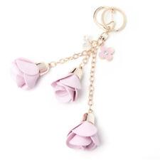 Hot Rose Flowers Leather Keyring Bag Key Ring Chain Charm Keychain Pendant Gift