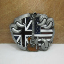 British Flag Guitar Belt Buckle Vintage Cowboy Casual Match