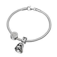 Sterling Silver Star Wars Darth Vader & Imperial Symbol Charm Bead Bracelet Set