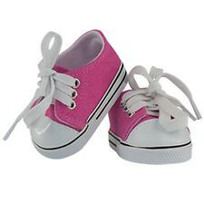 """MangoPeaches 18"""" Doll, Pink Tennis Shoes w white laces, fits American Girl Dolls"""