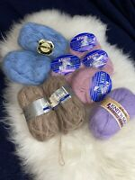Lot Of 9 Luxury Yarn Alpaca Mohair Soft Warm Destash Blue Beige Lavender Pink
